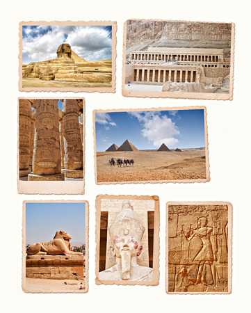 Collection of images from the ancient wonders of Egypt  Banco de Imagens