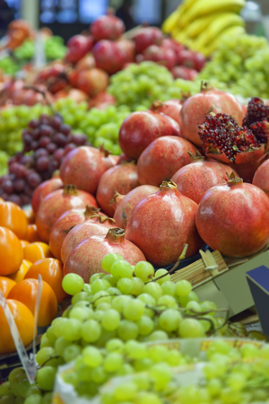 Image of a market stall with fresh fruit and vegetables  photo