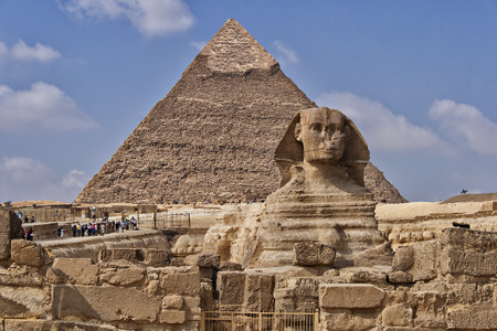 Image of the Sphinx monument by the great pyramids in Cairo, Egypt  Stok Fotoğraf
