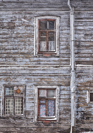 run down: Run down wooden house in the city of Riga, Latvia  Stock Photo