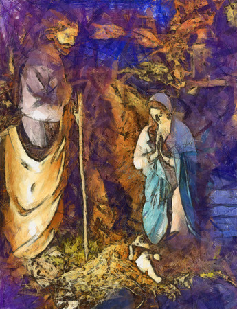 mary and jesus: Image of the nativity scene of the birth of christ.