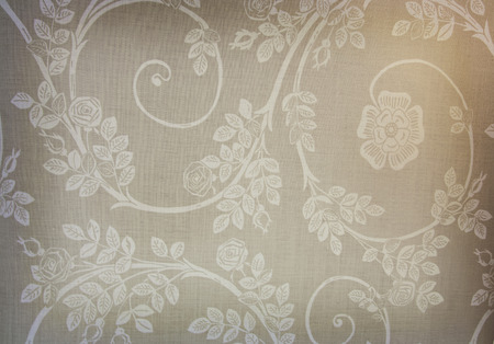 grime: Image of a dirty peace of textile with printed flowers and grime. Stock Photo