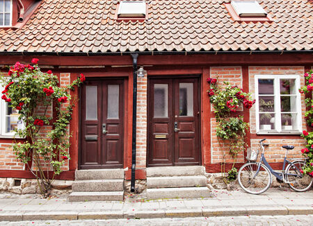 wonky: Image of traditional cottage town houses in Lund, Sweden.