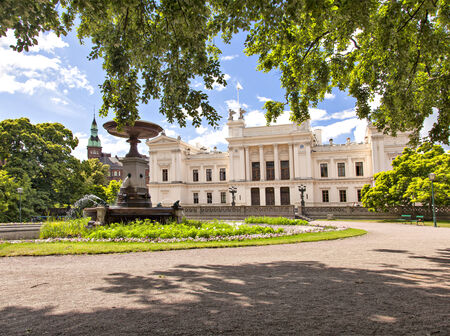 education in sweden: Image of university of Lund main building and its lush park area   Editorial