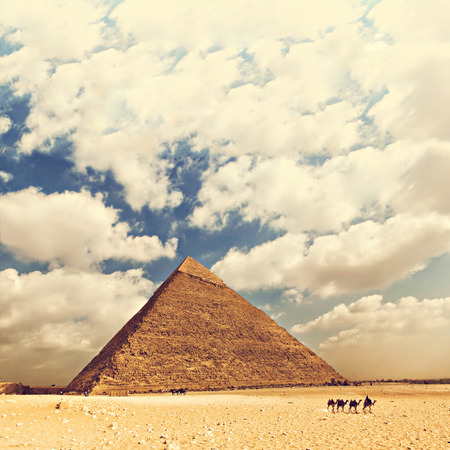 Image of one of the pyramids in the large complex in Cairo, Egypt.