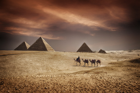 egyptian pyramids: Image of the great pyramids of Giza, in Egypt.