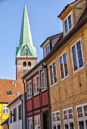 Image of charming old street. Helsingor, Denmark.  photo