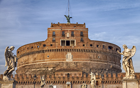 Image of the medieval fortification of Sankt Angelo in Rome, Italy. photo