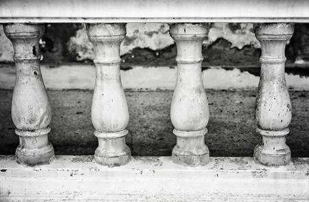 bannister: Image of a row of white bannister pillars made of stone. Stock Photo