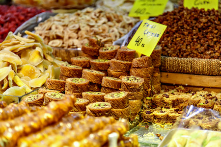 speciality: Selection of Baklava, turkish speciality sweets, with nuts and dried fruit.