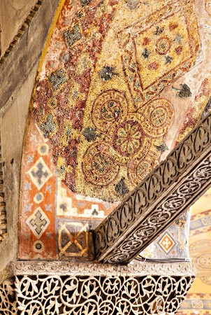 byzantium: Detail image of mosaics and limestone carvings from inside the Hagia Sofia. Istanbul, Turkey.