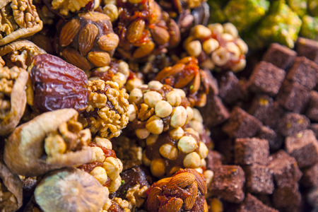 speciality: Image of turkish speciality sweets, consisting of sweets toffee with nuts.