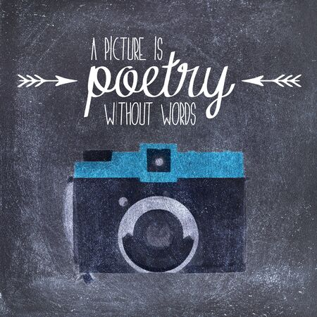 poetry: Illustration of a vintage camera with a quote; a picture is poetry without words. Stock Photo