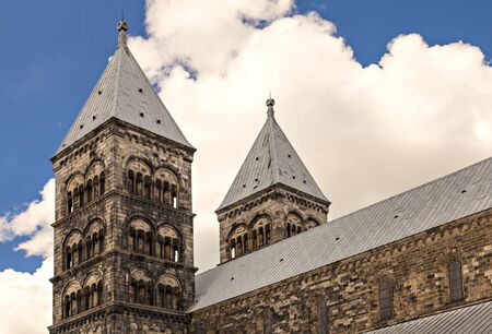 steeples: Image of the two steeples on Lund Cathedral. Lund, Sweden. Stock Photo