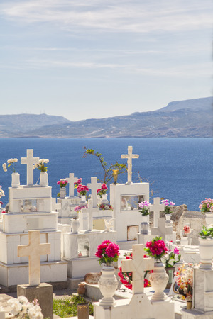cemetary: Image of a traditional greek orthodox cemetary. Sitia Crete. Stock Photo