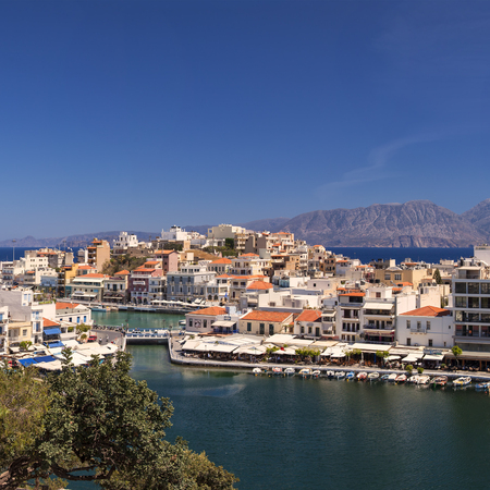 seaside town: Image of the seaside town of Agios Nikolaos. Crete Greece. Stock Photo