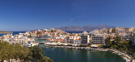seaside town: Panorama image of the seaside town of Agios Nikolaos. Crete Greece.