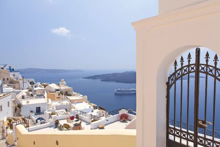 fira: View of the village of Fira on Santorni Greece.