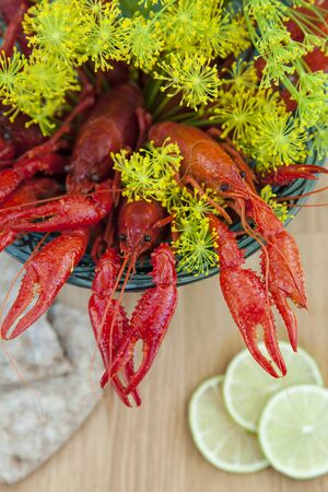 sprigs: Image of a bowl of freshly boiled crayfish with sprigs of dill. Stock Photo