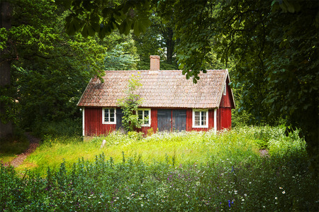 Image of a small red cottage in a forrest clearing. South east Sweden. 스톡 콘텐츠