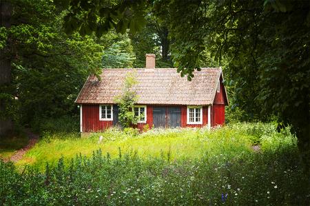 casa de campo: Imagen de una pequeña cabaña roja en un claro Forrest. Sureste Suecia. Foto de archivo