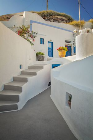 white window: Image of a traditional home on Santorini Island, Greece. Stock Photo