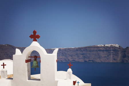 white washed: Image of a white washed bell tower. Santorini, Greece. Stock Photo