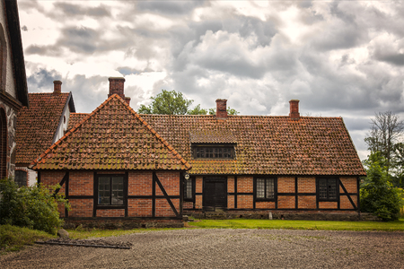 elizabethan: Image of a half-timbered farmhouse. Ortofta, Sweden. Stock Photo