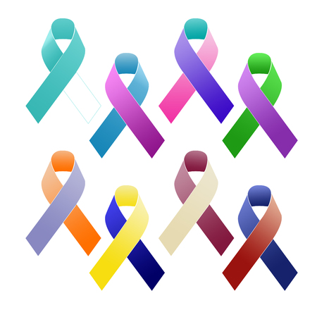 thyroid cancer: Selection of multi-coloured awareness ribbons. Stock Photo