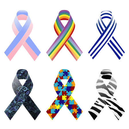 awareness ribbons: Selection of patterned awareness ribbons.