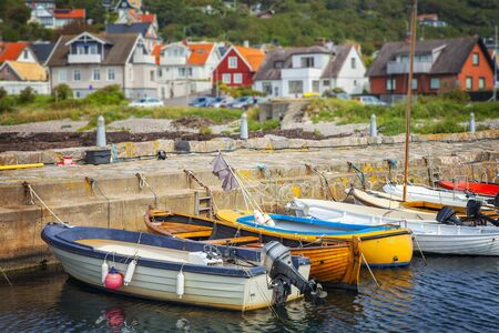 water town: Image of a small quaint fishing village on the west coast of Sweden. Molle, Skane. Stock Photo