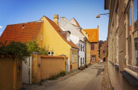 residential street: Image of a narrow residential street in the medieval town center of Helsingor, Denmark.