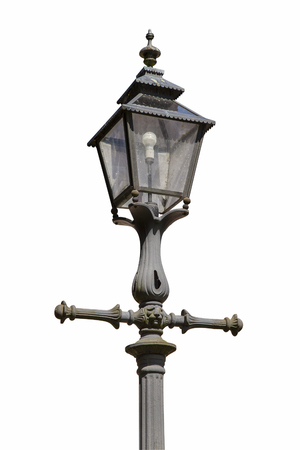 lamp post: Image of an old lamp post, isolated on white background.