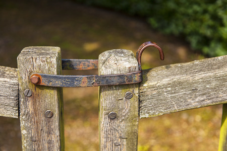 hinge: Image of an old metal gate hinge.