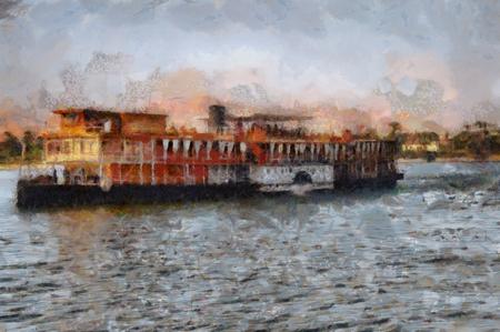 Image d'un bateau à vapeur sur le Nil en Egypte.