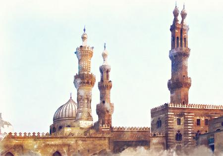 cairo: Image of Al Azhar mosque in Cairo, Egypt. Watercolour illustration.
