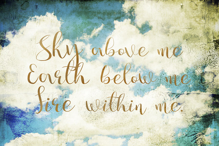 wicca: Spiritual quote on a dirty background with clouds and sky. Stock Photo