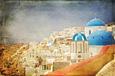 fira: Vintage paper styled village of Fira on Santorini, Greece.