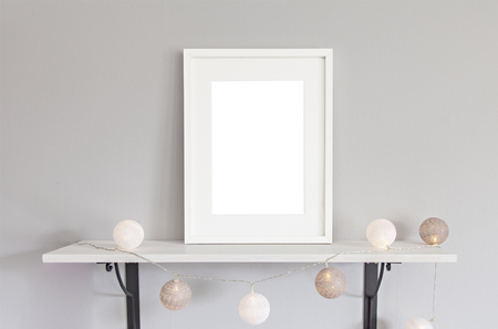 modern frame: Image of mockup scene with white frame and baubles. Stock Photo