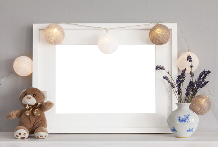 Image of mockup scene with white frame and decorative items. Banco de Imagens - 54702441