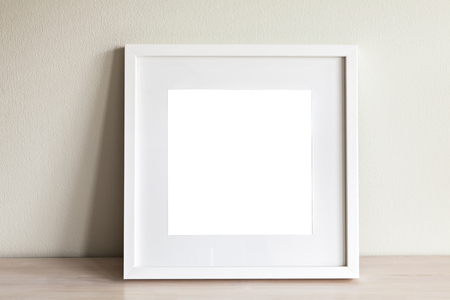 Obraz makieta scena z białym ramki kwadratowej. Zdjęcie Seryjne