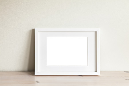 Image of a horizontal white frame mockup. Stockfoto