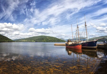 Image of fishing boats at Loch Fyne. Inveraray, Scotland. Stok Fotoğraf