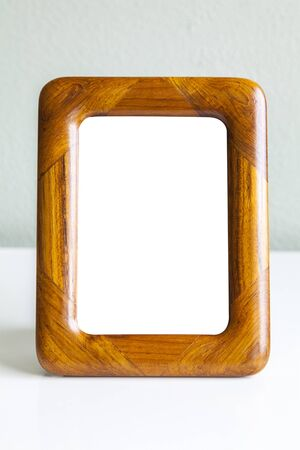 teak: Image of vintage teak wood mockup frame. Stock Photo