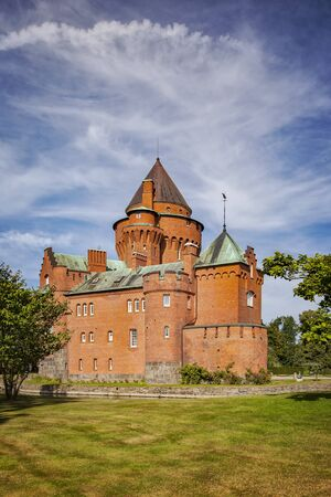 mediaval: Image of the castle of Hjularod in Sweden, built in a french medieval romantic style.