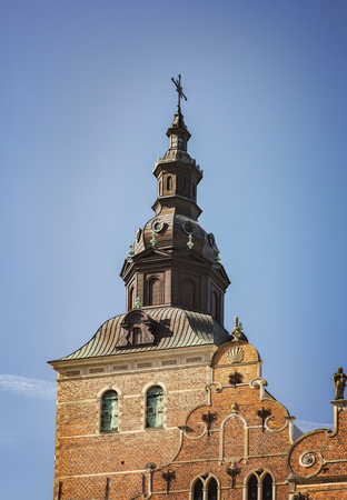 sacred trinity: Image of the tower of Holy Trinity church in Kristianstad, Sweden. Stock Photo