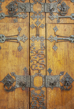 crafted: Image of the door of a vintage, medieval cupboard. Stock Photo