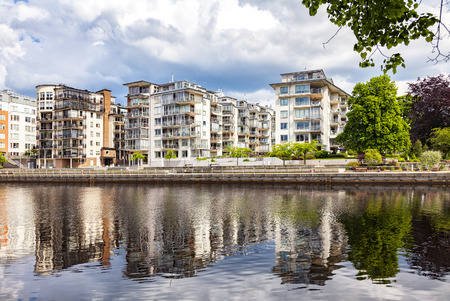 Image of luxury apartments by the river. Halmstad, Sweden.