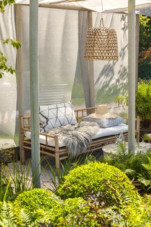 Image of bamboo garden furniture. Stock Photo
