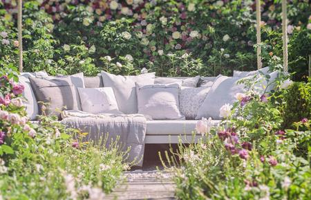 seating: Image of romantic garden seating.